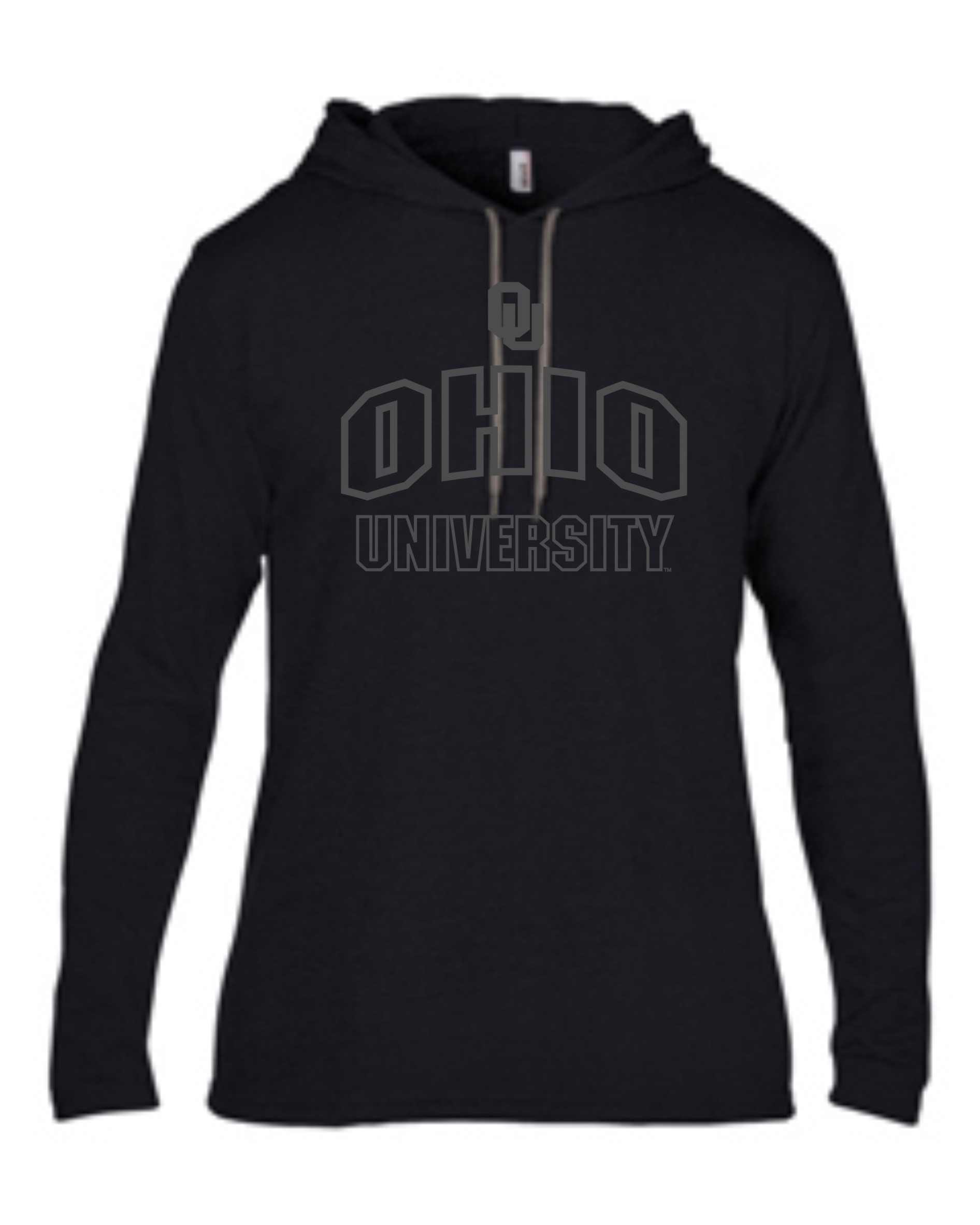 OU Shadow - Black hooded longsleeve