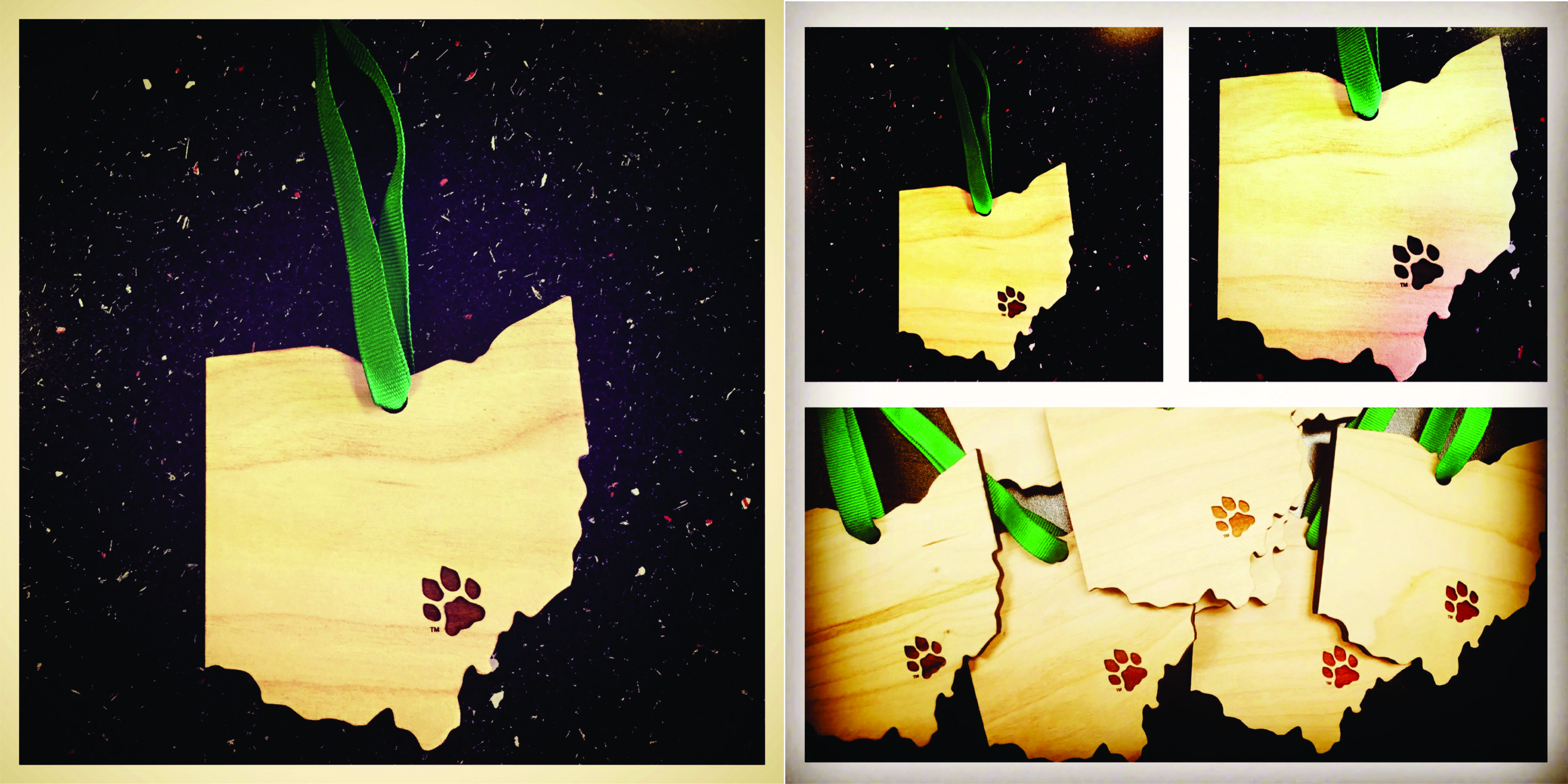 Paw State Ornament - Cherry Wood